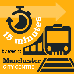 15 minutes by train to Manchester